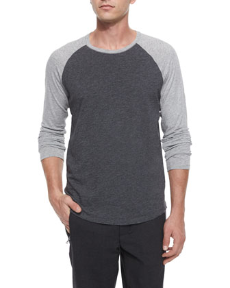 Slub Long-Sleeve Baseball Tee, Gray