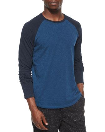 Slub-Knit Long-Sleeve Baseball Tee, Blue