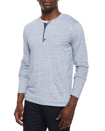 Long-Sleeve Jersey Henley Tee, Light Blue