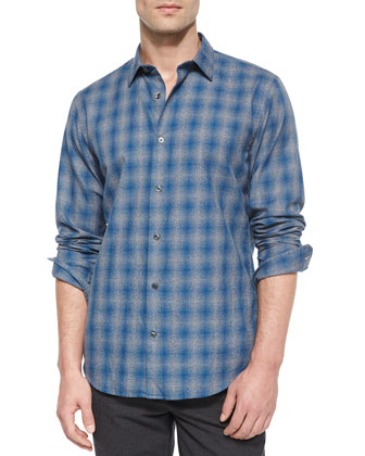 Distorted Plaid Long-Sleeve Shirt, Blue