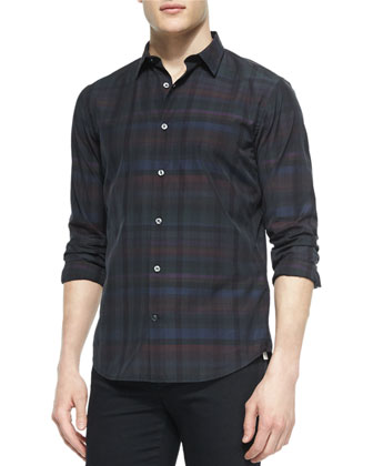 Multi-Plaid Long-Sleeve Shirt & Stretch Resin-Coated Moto Jeans