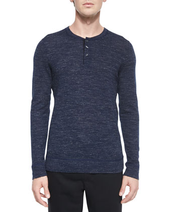 Wool-Blend Long-Sleeve Henley Tee, Blue