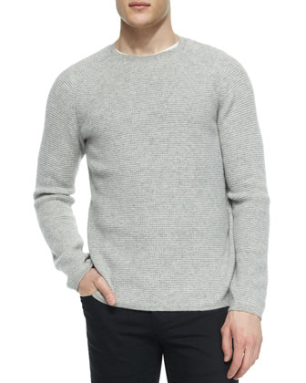 Thermal Cashmere Crewneck Sweater, Gray