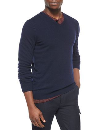 Cashmere V-Neck Sweater, Wool-Blend Long-Sleeve Henley Tee & Military-Style ...