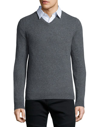 Cashmere V-Neck Sweater, Light Gray