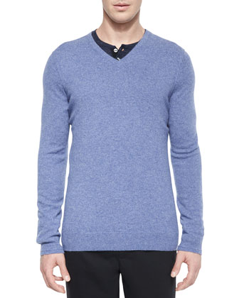Cashmere V-Neck Sweater, Light Blue