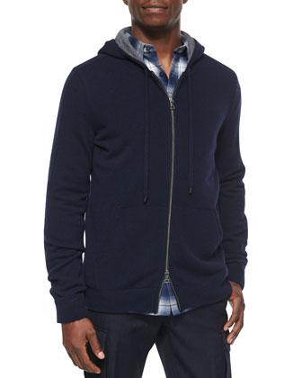 Cashmere Full-Zip Hoodie, Navy