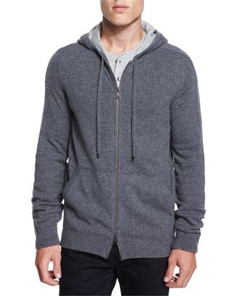 Cashmere Full-Zip Hoodie & Long-Sleeve Henley Shirt