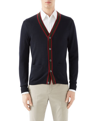 Navy Cardigan w/ Double Layer Green/Red/Green Web Detail & Tan Riding Pants ...