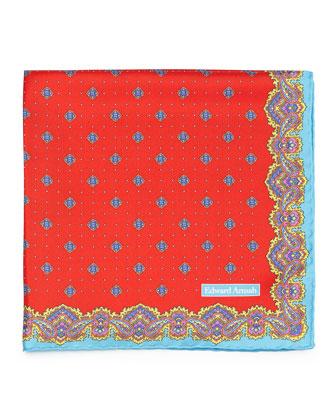 Diamond Neat Silk Pocket Square, Red