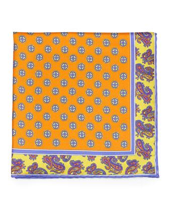 Circle Medallion Print Silk Pocket Square, Orange