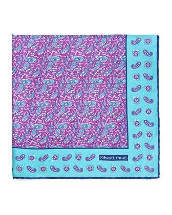 Mini-Paisley Print Silk Pocket Square, Purple/Aqua