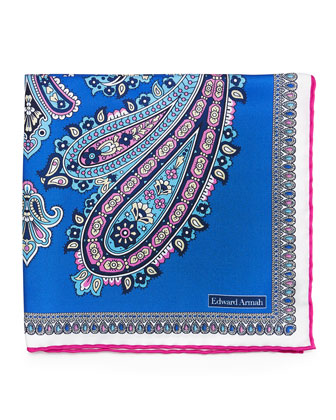 Large Paisley-Print Silk Pocket Square, Blue/Pink