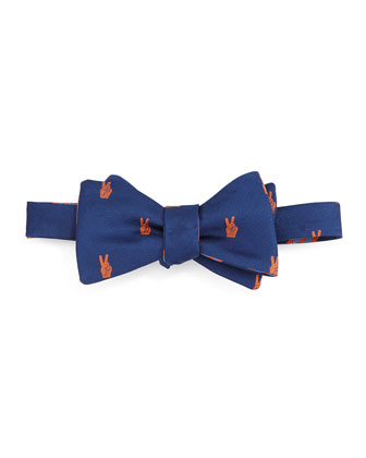 Peace Sign Bow Tie, Navy