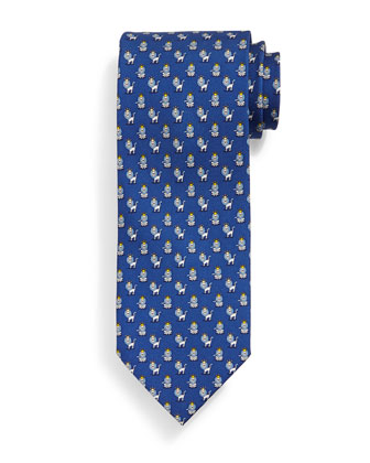 Lion-Pattern Silk Tie, Blue