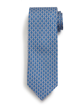 Kissing Dog-Print Tie, Blue