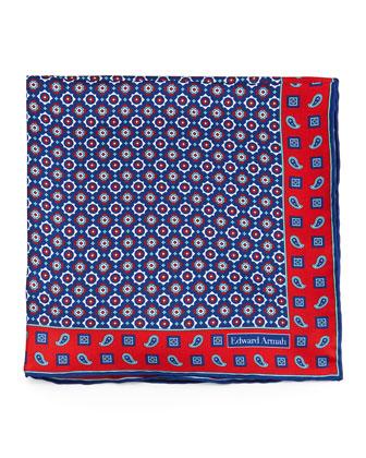 Medallion-Pattern Silk Pocket Square, Red