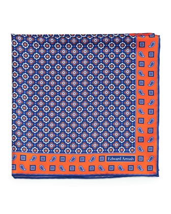 Medallion-Pattern Silk Pocket Square, Orange