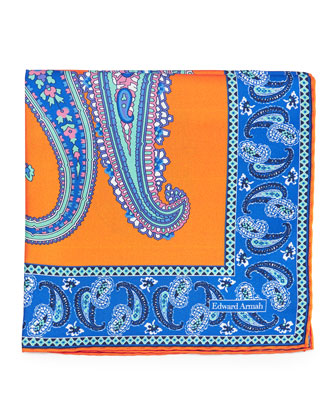 Large Paisley-Print Silk Pocket Square, Orange