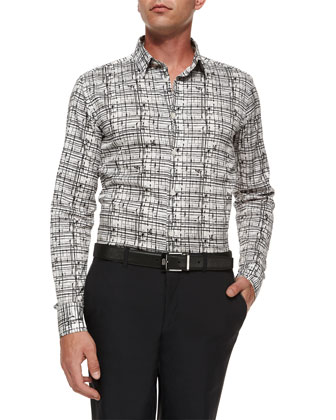 Paint-Splatter Woven Sport Shirt, Black/White
