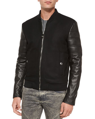 Leather-Sleeve Varsity Jacket, Black