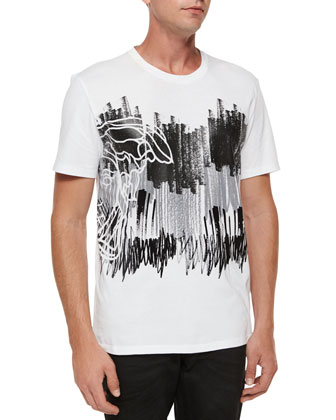Graffiti Screen-Print Graphic Tee & Studded-Waist Five-Pocket Denim Jeans