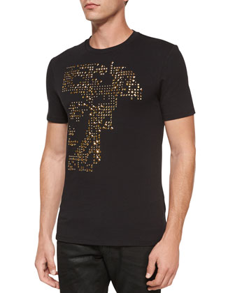 Studded Medusa Knit Tee, Black