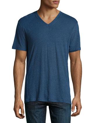 Short-Sleeve V-Neck Tee, Blue