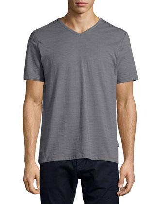 Eraldo Short-Sleeve V-Neck Slub Tee, Gray