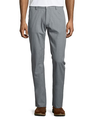 Rice Flat-Front Twill Trousers, Gray