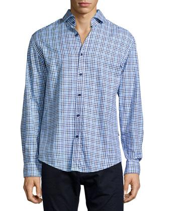 Mason Gingham Long-Sleeve Woven Shirt, Blue