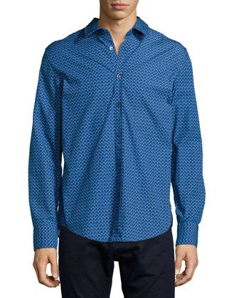 Diamond-Pattern Woven Sport Shirt & Maine Straight-Leg Denim Jeans