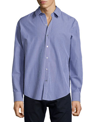 Robbie Check Long-Sleeve Woven Shirt, Blue
