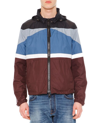 Colorblock Stripe K-Way Jacket, Blue/Burgundy/White