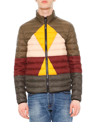 Colorblock Reversible Nylon Puffer Jacket, Green/Gold/Burgundy