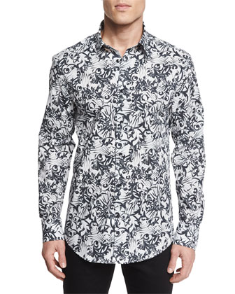 Graffiti-Print Long-Sleeve Sport Shirt, Black/White