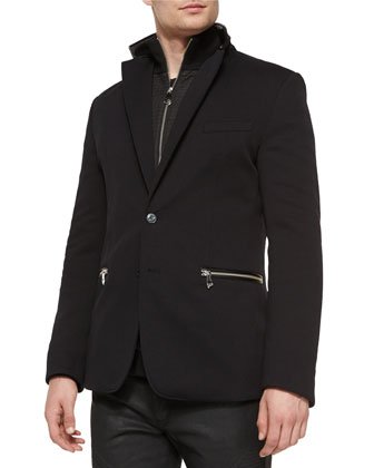 Two-Button Sport Coat with Nylon Insert, Black