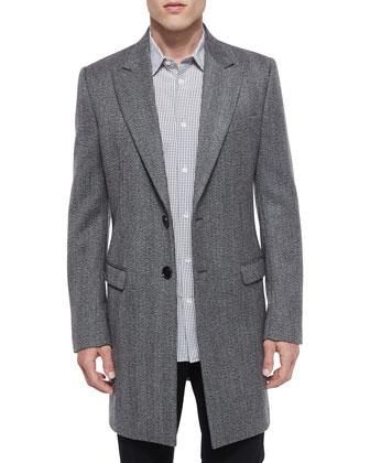 Herringbone Wool Long-Coat, Printed Long-Sleeve Sport Shirt & Slim-Fit ...