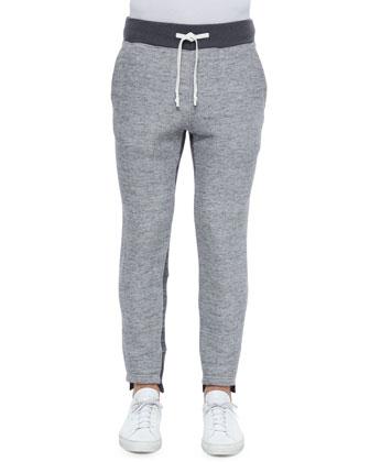 Drawstring Knit Sweatpants, Gray