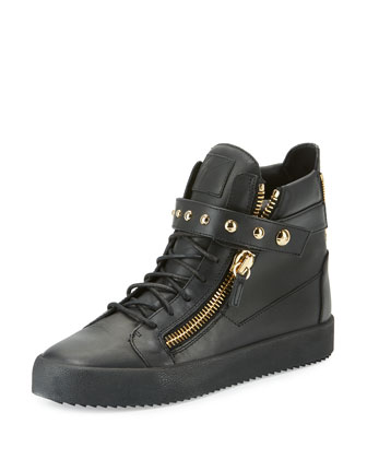 Men's Matte Leather High-Top Sneaker, Black