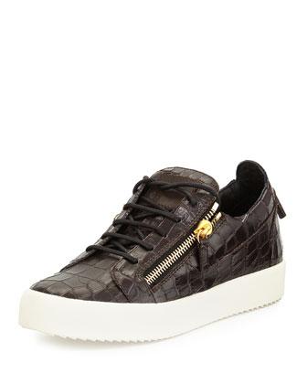 Men's Croc-Embossed Low-Top Sneaker, Chocolate