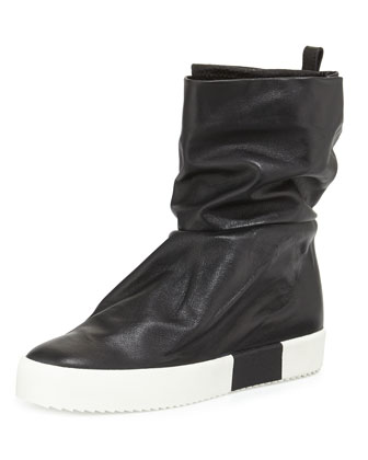Leather Slouch-Collar Boot, Black