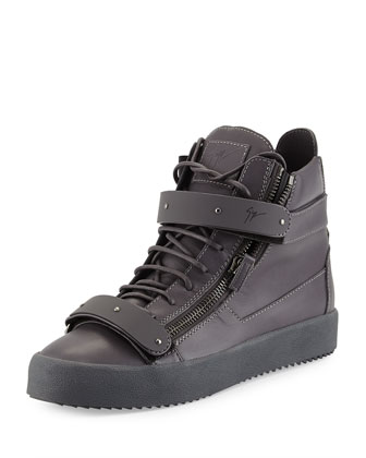 Men's Double-Strap High-Top Sneaker, Gray