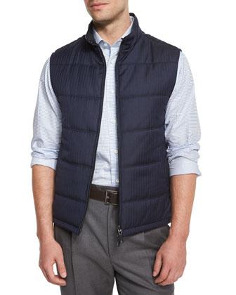 Tonal Herringbone Wool Vest, Navy