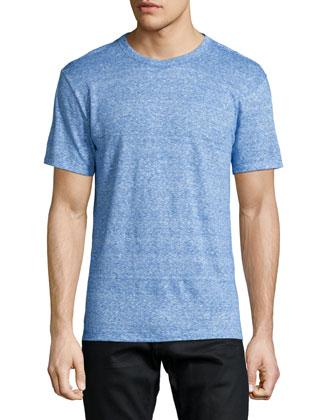 Fine-Stripe Short-Sleeve Linen Tee, Blue