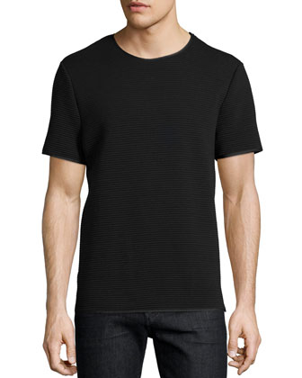 Textured Tonal-Stripe Crewneck Tee, Black