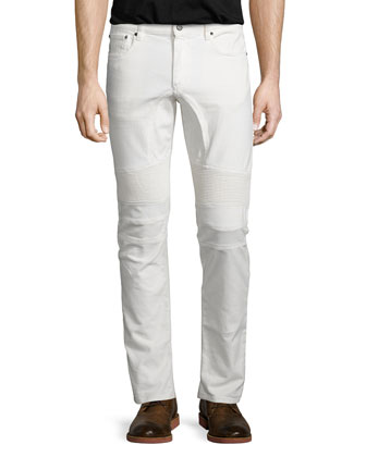 Eastham Coated Slim-Fit Moto Jeans, White