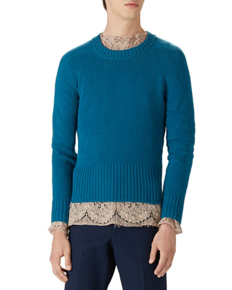 Wool Crewneck Sweater, Cotton Lace Shirt & Stretch Gabardine Slim-Fit Pants