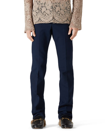 Stretch Gabardine Slim-Fit Pants, Blue