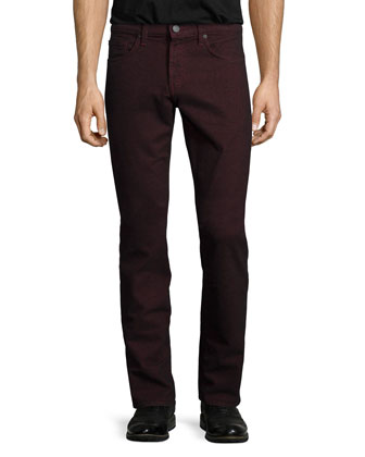 Kane Straight-Leg Twill Pants, Dark Red